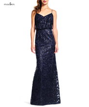Sexy Black Navy Sequins Bridesmaid Dresses Long Vestidos de Noiva 2016 Spaghetti Strap Sleeveless Wedding Party Dress Gown