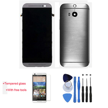 Original 100% Test LCD Touch Screen Digitizer Assembly Frame + Back Cover Housing For HTC One M8 Grey With Free Tools