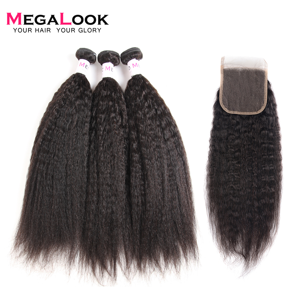 Megalook Yaki Human Hair Bundles With Closure 3pcs Brazilian Yaki Straight Hair With Lace Closure Remy