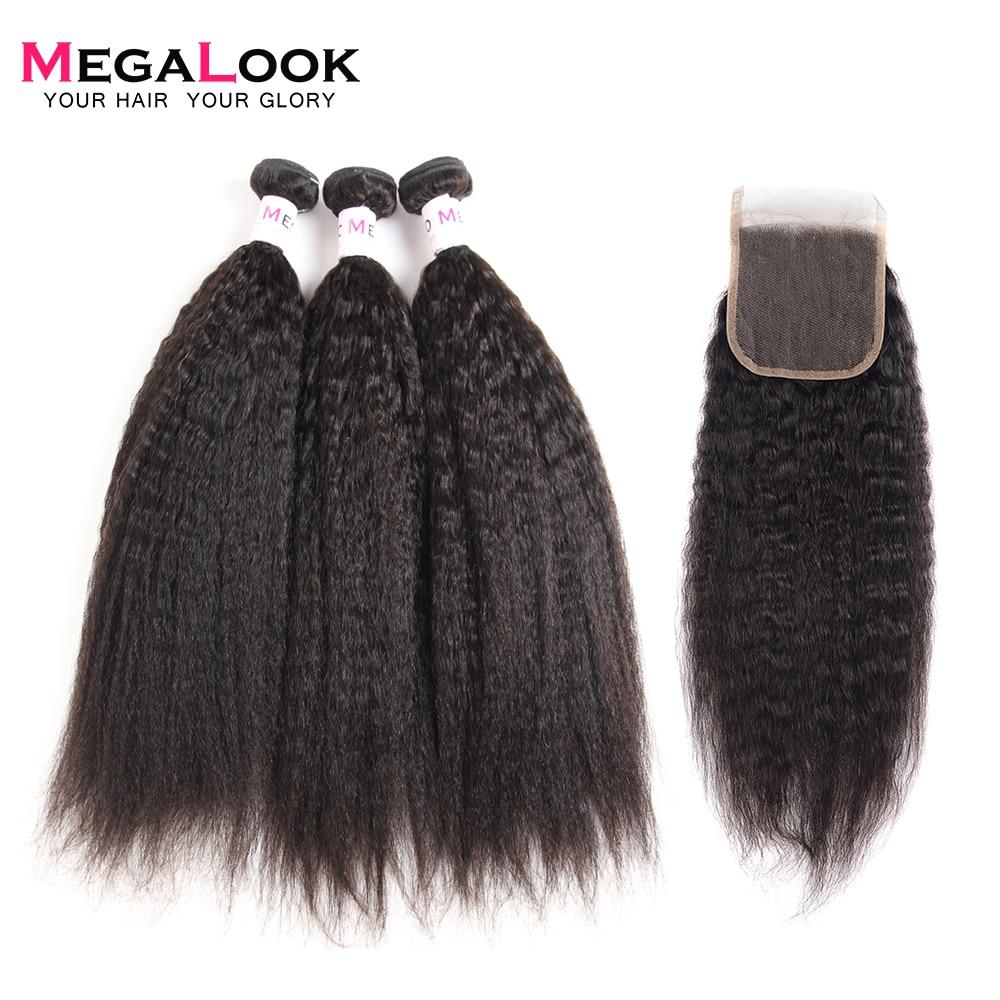 Megalook Yaki Human Hair Bundles With Closure 3pcs Brazilian Yaki Straight Hair With Lace Closure Remy