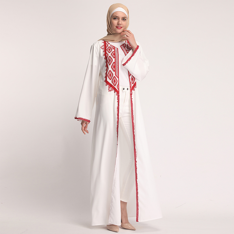 Chiffon White Abaya Muslim Dress Dubai Turkey Hijab Kaftan Abayas For Women Jilbab Ramadan Robe Caftan Turkish Islamic Clothing
