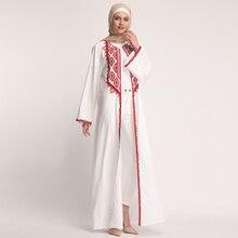 Chiffon Putih Abaya Baju Muslim Dubai Turki Hijab Kaftan Abaya untuk Wanita  Jilbab Ramadan Jubah Kaftan Islam Turki Pakaian e539f6b43f