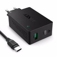 Aukey Qualcomn Быстрая Зарядка 3.0 Зарядное устройство 2 порта USB ЕС/США подключите Зарядное Устройство с Типа С Кабелем Для Iphone/Android и многое другое