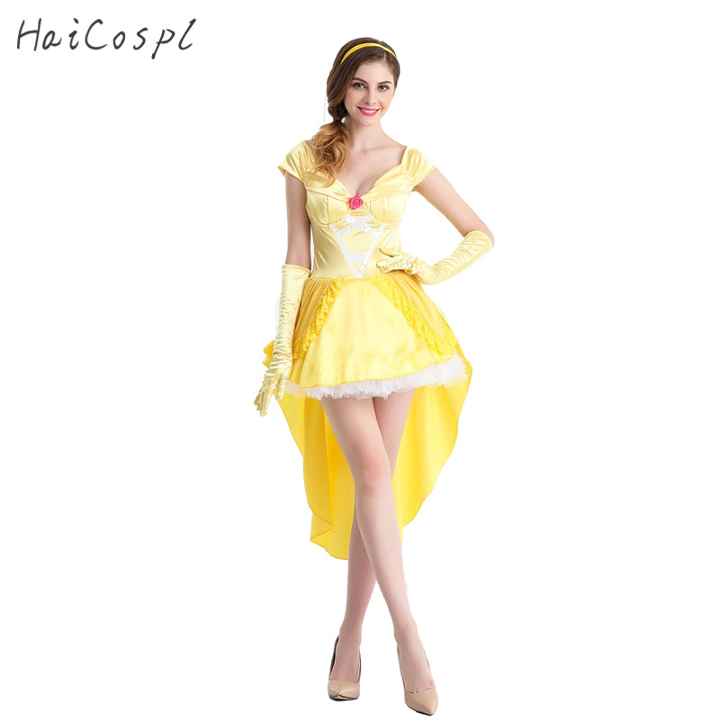 Women Cosplay Costumes Belle Yellow Princess Sexy Dresses ...