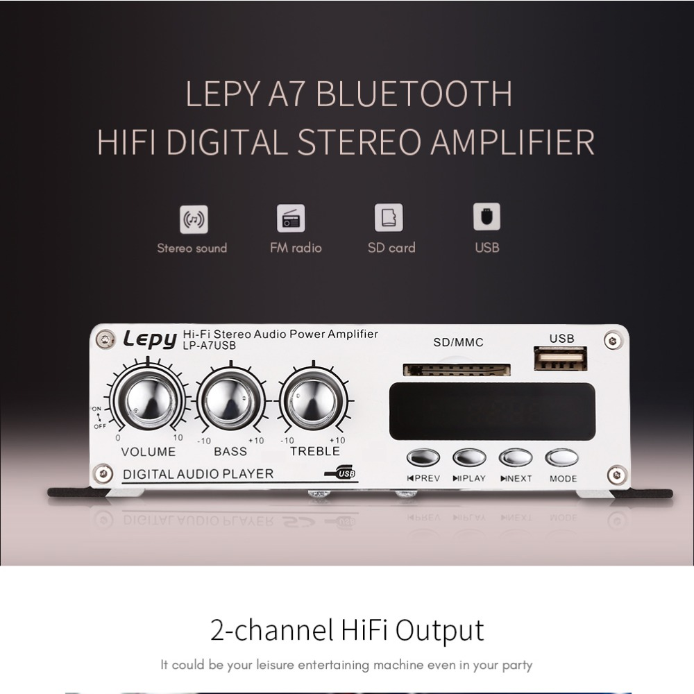 Lepy 2-Channel Bluetooth 2.1 HiFi Stereo Audio Support SD USB FM Amplifier аудиосистема boss audio marine mc520b 2 динамика 3 600 вт usb sd fm bluetooth