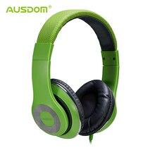 Ausdom F01 extensible de los auriculares con cable extremadamente suave manos libres estéreo reproductor de música sobre la oreja para el teléfono tabletas computadoras