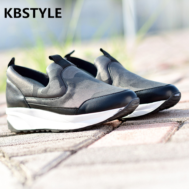 KBSTYLE 2017 NEW Casual Ladies height increase shoes Womens Sport Mesh shoes Fashion leather Slip on leisure Female Flats kbstyle 2017 new spring shoes for women brand pointed toe womens flats fashion young ladies casual shoes hot sale wholesale