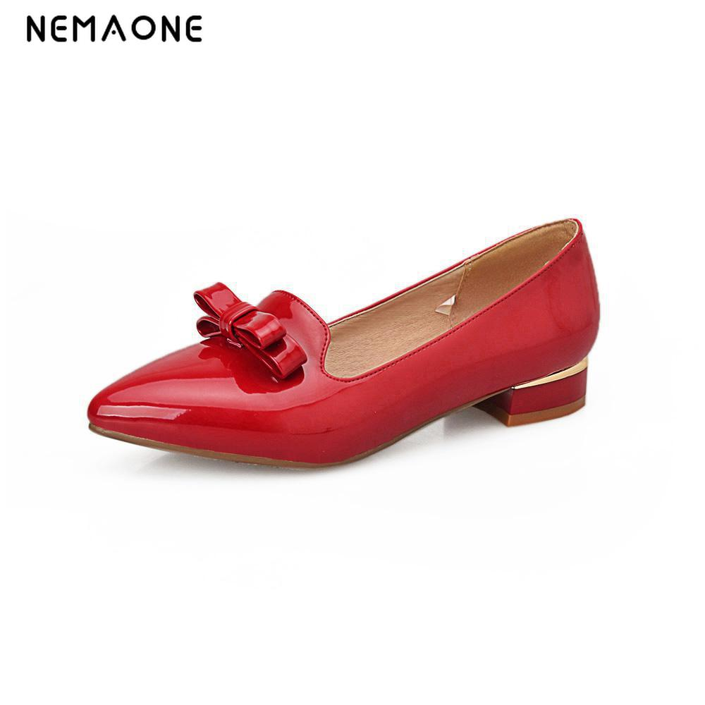 NEMAONE New Arrival 2017 Women High Heels Pumps Pointed Toe Thick Heeled Pumps Fashion Full  Women Shoes Summer us size 11 12 new 2017 spring summer women shoes pointed toe high quality brand fashion womens flats ladies plus size 41 sweet flock t179