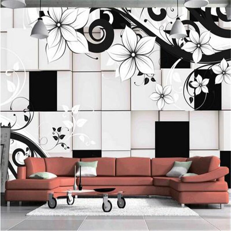 custom 3d photo wallpaper black and white patterned flower 3d wall mural art bedroom sofa TV background home decoration paper custom baby wallpaper snow white and the seven dwarfs bedroom for the children s room mural backdrop stereoscopic 3d