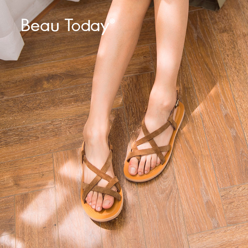 BeauToday Women Summer Sandals Genuine Leather Cow Suede Buckle Strap Classical Rome Lady Flat Shoes Handmade