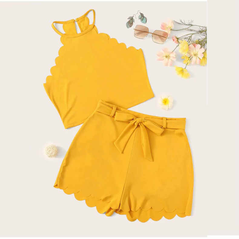 固体 2 ピース衣装女性のためのエレガントなノースリーブ女性のスーツツーピース夏タンクアップブラウス + ショーツホットパンツ conjunto # G9