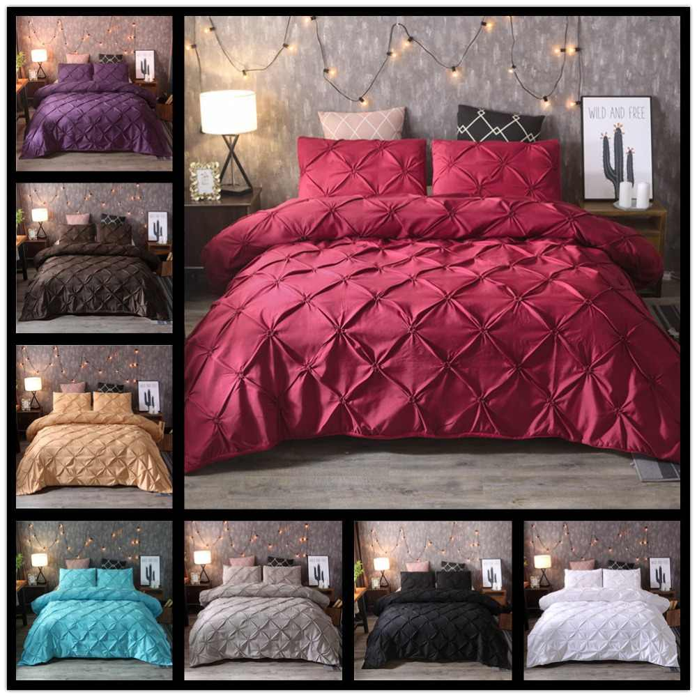 Grey Black Duvet Cover Bedding Set Solid Bed Covers Pinch Pleat Art Work Single Queen King Size 3 pcs with Pillowcase 80090