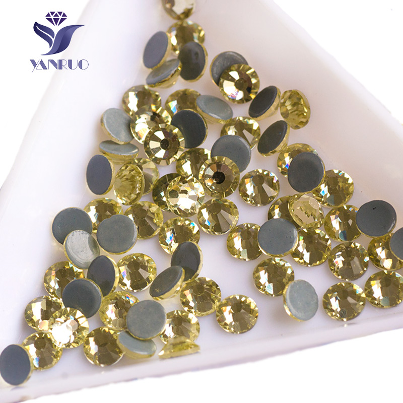 YANRUO 2058HF Jonquil Glass Rhinestones Hot Fix Strass Iron on Hot-Fix Rhinestone Stones And Crystal Stones For Craft Clothes