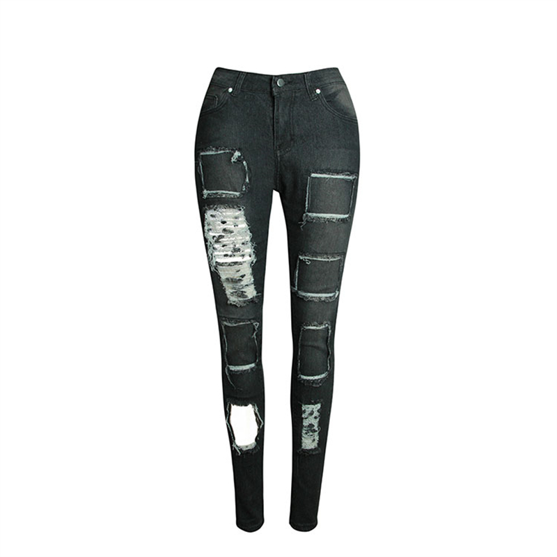 Europe New Spring Elastic High Waist Jeans Woman Holes Washed Ripped Jeans for Women Trousers Skinny Black Pencil Pants S-2XL ripped jeans for women 2016 high waist woman skinny pencil pants sexy holes black ripped jeans slim elastic trousers for women