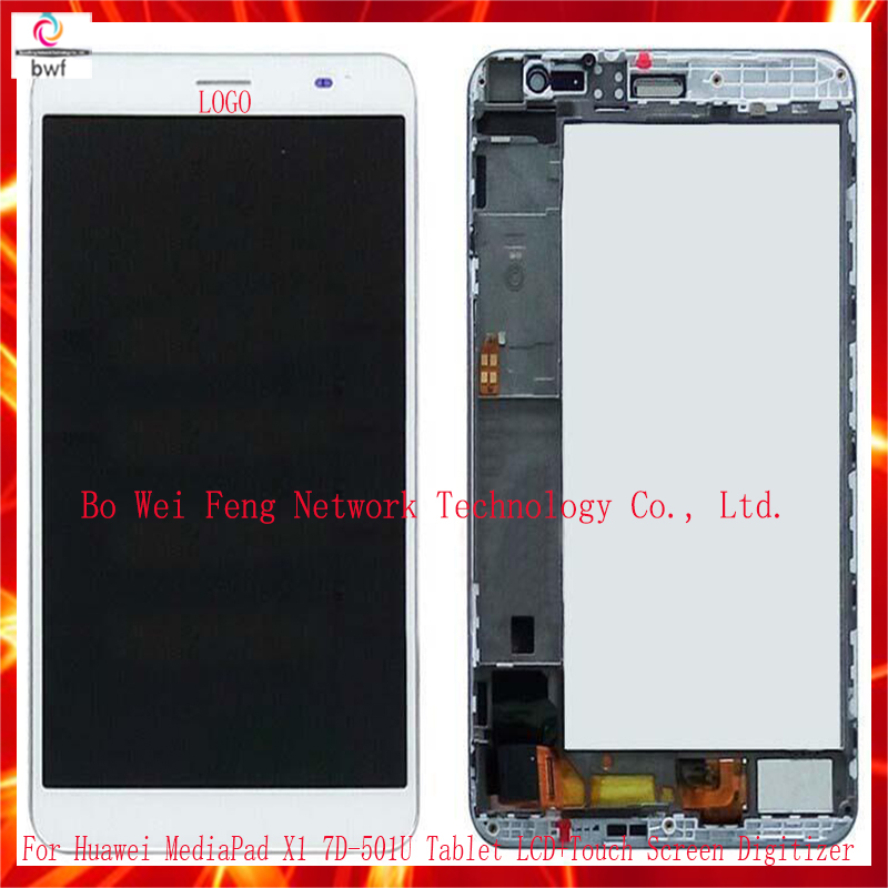 7.0 For Huawei MediaPad X1 7.0 7D-501U Tablet Full LCD Display Touch Screen Panel Digitizer Frame Assembly Complete Black White