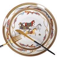 を欧州の骨中国西部ディッシュプレート美しいセラミック食器ホテル装飾プレートデザート、ステーキ、スナック、ウェディングギフト|皿 & プレート|   -