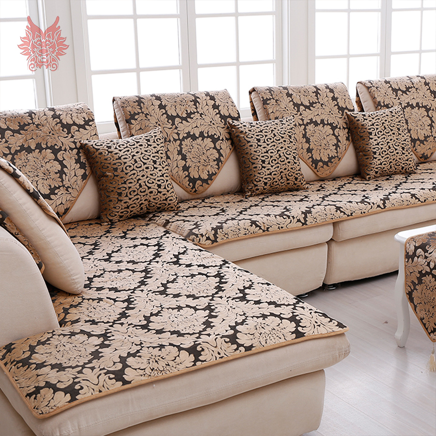 Europe Black Gold Floral Jacquard Terry Cloth Sofa Cover Plush Sectional  Slipcovers Furniture Couch Covers Capa Sofa SP3767