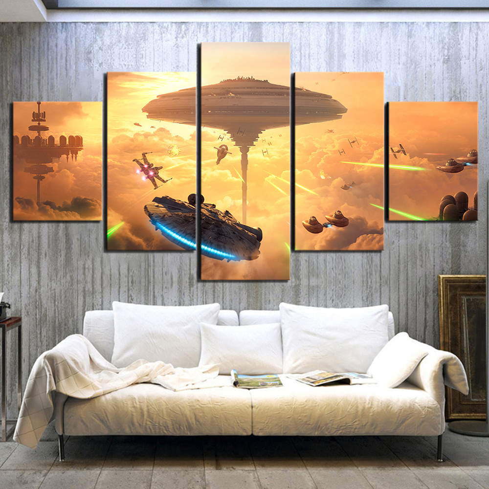 HD Poster Paintings 5 Piece Fantasy Art Spaceship Pictures Star Wars Battlefront Bespin Video Game Canvas Art for Wall Decor image