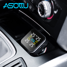 Asottu 자동차 tpms 타이어 압력 모니터링 시스템 타이어 압력 자동 보안 경보 시스템 담배 라이터 디지털 lcd 디스플레이