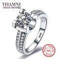 YHAMNI Lujo 100% Sólida Original de 925 Anillos de Plata Fijó 1.5 sona quilates cz cubic zirconia anillos de compromiso de boda para las mujeres AR004