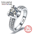 YHAMNI Luxury 100% Original Solid 925 Silver Rings Set 1.5 Carat SONA CZ Cubic Zirconia Engagement Wedding Rings For Women AR004