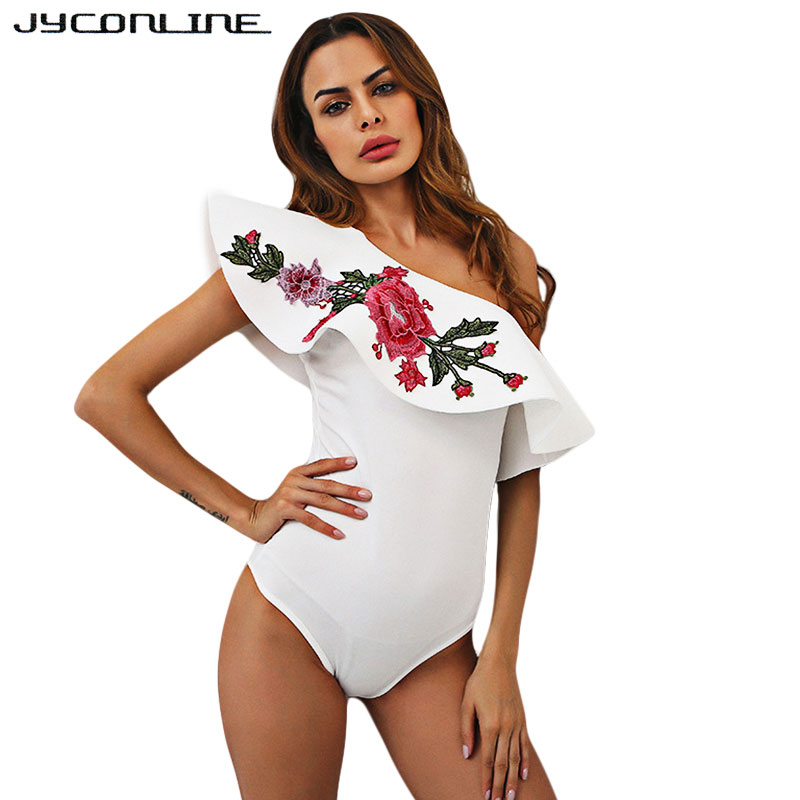 JYConline 2017 Summer Sexy Bodysuits Women Embroidery Flower Sleeveless Ruffles One Shoulder Jumpsuit Overalls Bodycon Body Top