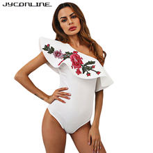 JYConline 2017 Summer Sexy Bodysuits Women Embroidery Flower Sleeveless Ruffles One Shoulder Jumpsuit Overalls Bodycon Body Top(China)