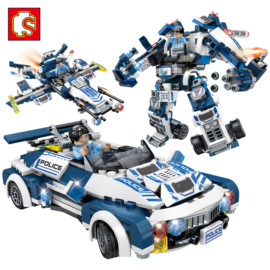 Sembo Police Robot Car Aircraft Weapon Action Toy Figures Building Blocks Compatible legoed Speed City Enlighten Bricks For Kids цена и фото
