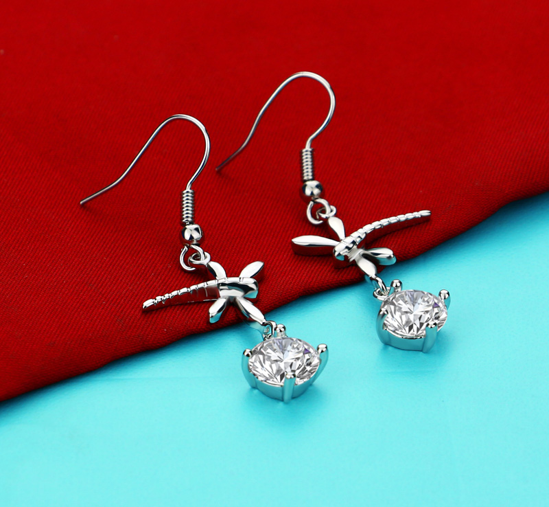 Chinese style Lady zircon Earring Charm Beautiful silver plated Earrings Unique Dragonfly Earrings Fashion Jewelry for women gif