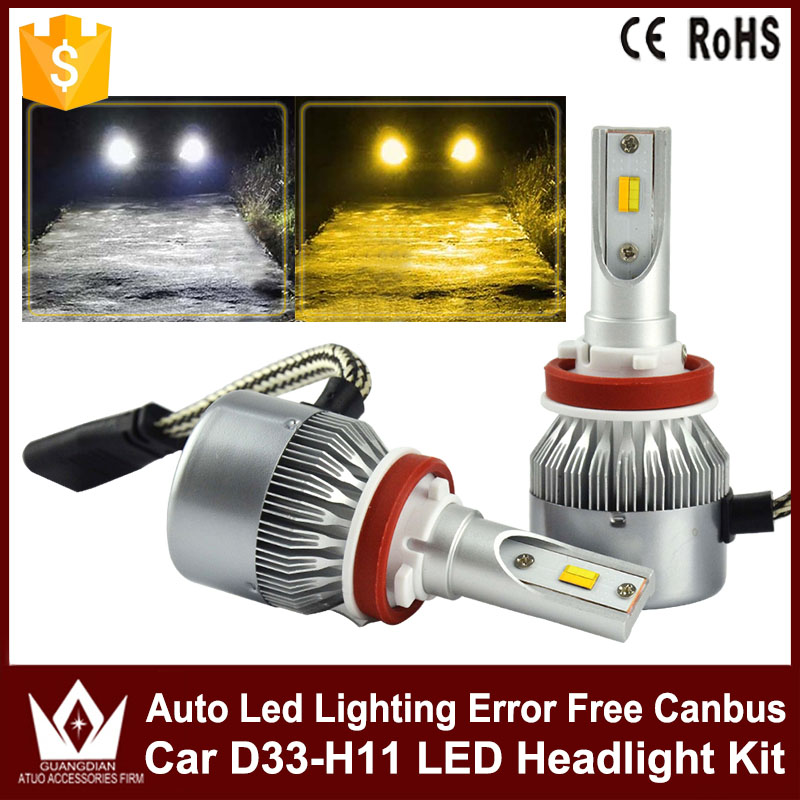 Tcart 2pcs Car LED Headlights Kit D33 H11 36W Auto Led Headlamps Canbus White With Yellow Fog Lights For Hyundai I30 Accessories