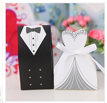 100 pieces new arrival 100pcs/lot just married bride and groom  Suit/ dress favor holders candy box