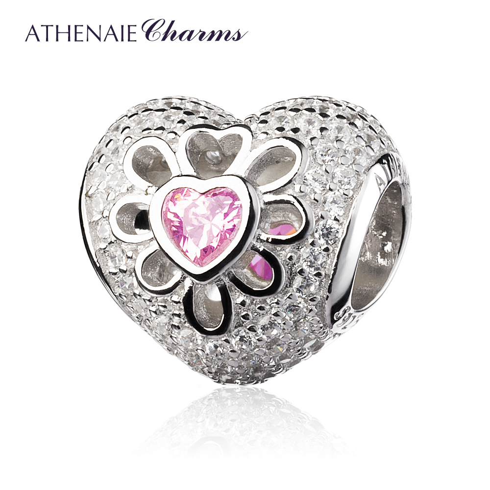 ATHENAIE 925 Sterling Silver with Pave Clear CZ & Pink CZ Heart Blooms Bead Charms  Fit European Bracelets & Bangles-in Beads from Jewelry & Accessories