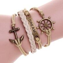 Multicamadas pulseira de couro amor feliz árvore birds charm bracelet pulseras hombre femme pulseira masculina pulseiras para as mulheres