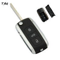 3 Buttons Car Key Flip Remote Case For VW Phaeton Touareg Key Fob Replacements No Battery
