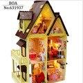 Diy Casa De Bonecas de Madeira Com Móveis, luz Model Building Kits 3D Puzzle Toy Dolls Presentes-A Minha casinha casa de Bonecas Em Miniatura
