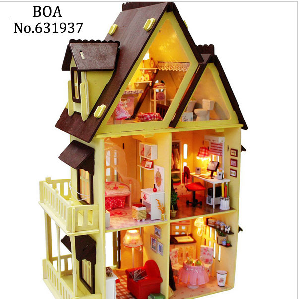 diy wooden doll house with furniture light model building kits 3d miniature dollhouse puzzle dolls toy gifts my little house build dollhouse furniture