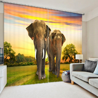 Elephants 3D Blackout Curtains Healthy non pollution Digital Print Customizable Size Design Tablecloth Shower Curtain Bedding