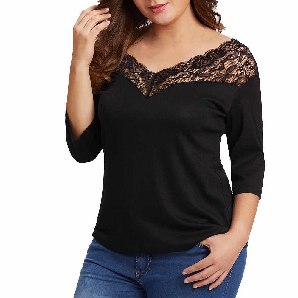 5fa288dca6ae Plus Size Women s Casual T-Shirt Summer Ladies V-Neck Lace Patchwork Tops  Girls
