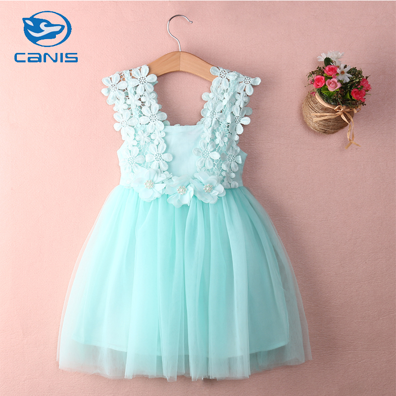 CANIS Brand Cotton Blend Lace Baby Girls Princess Lace Tulle Flower Gown Formal Party Dress Outfits Costume 2-7T