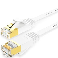 15m 20m 30m Cat7 Ethernet Flat Patch Network Cable Shielded STP With Snagless Rj45 Connectors White