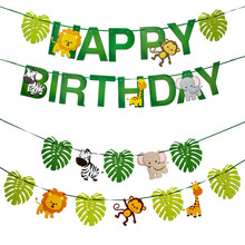 Happy Birthday Party Decorations Kids Banner Safari Jungle Animal Favors Baby Decoration