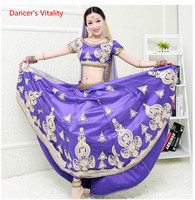 Female Adult Embroidery Dancers Suit Women Belly Dance Clothing Purple India Dance Stage Performance Competition Costumes