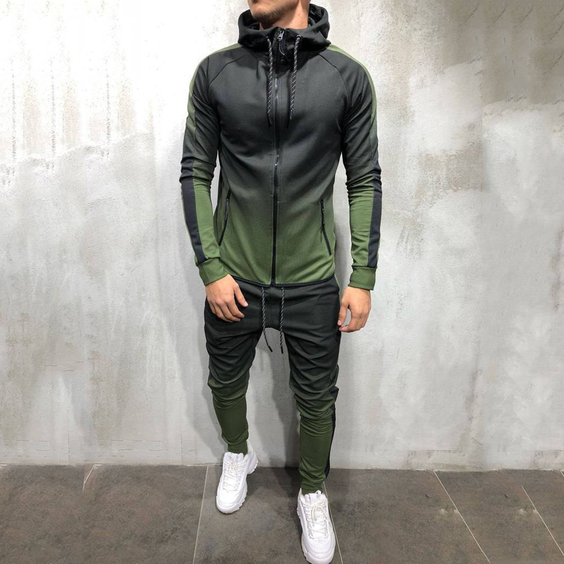 mens athletic 2 piece outfit set hooded tracksuit casual