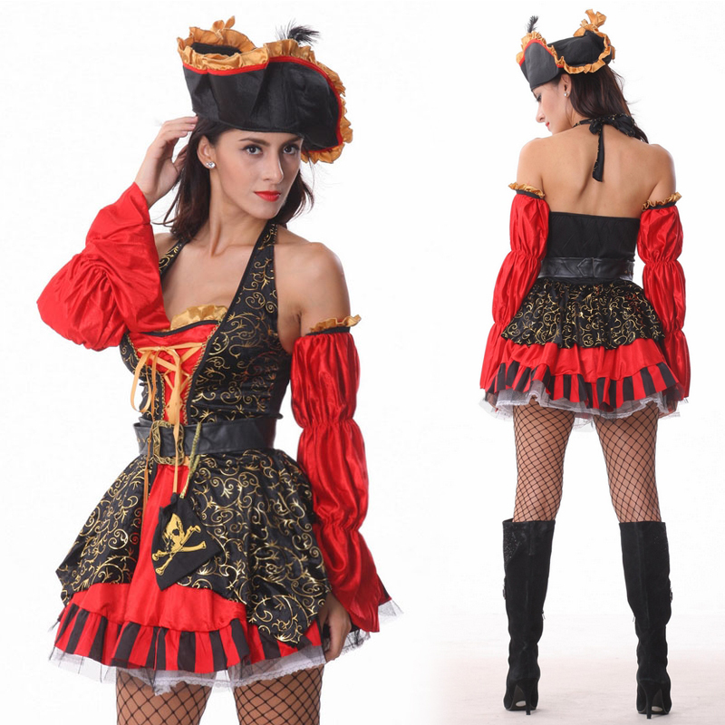 2015 Free Shipping New Fashion Spanish Pirate Costume Good Quality Halloween Costumes -5218