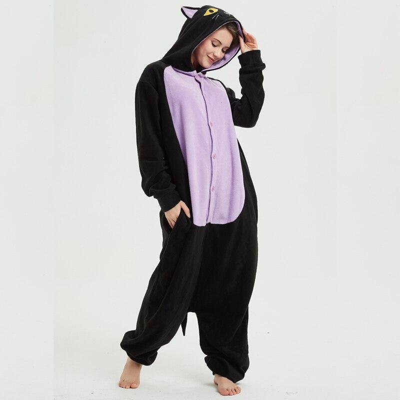 Polar Fleece Midnight Cat Kigurumi Animal Onesie Adult Black Winter Pajamas Party Cosplay Unisex Sleepwear Halloween Costume