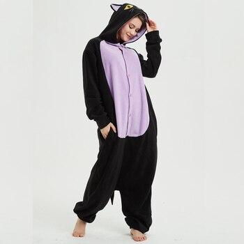 d72cfce17ef5 Polar vellón medianoche gato Kigurumi Animal Onesie adulto negro invierno  pijamas fiesta Cosplay Unisex ropa de dormir disfraz de Halloween