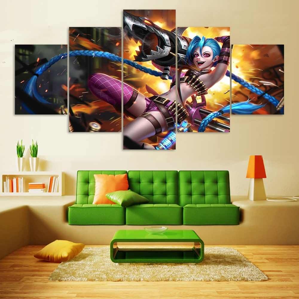 Jinx League of Legends Game 5 Piece HD Print Home Painting Game Wall Art Canvas Art For Living Wall Art Painting Decorative