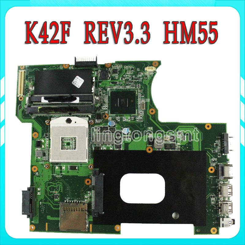 For Asus K42F Rev 3.3 GMA HD USB2.0 HM55 PGA989 DDR3 VRAM Main Board K42F Notebook Motherboard P42F 100% fully tested laptop motherboard for asus vivobook x202e dh31t x202e rev 2 0 60 nfqmb1700 b02 987 cpu hm70 gma hd good