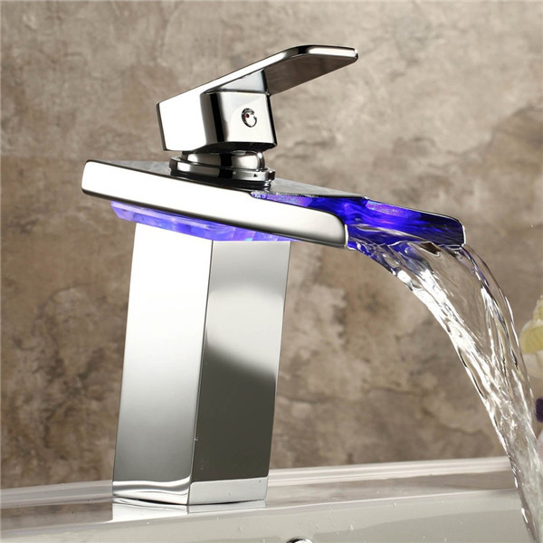 Chrome Polished Brass Square Bathroom Basin LED Light MIXER Faucet - Chrome polished brass bathroom faucets