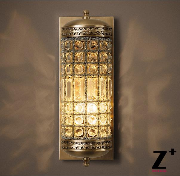 American Vintage 19th C Casbah Crystal Sconce Art Deco Style Wall Lamp Lighting Re